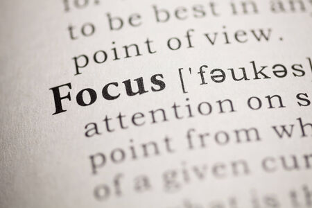 Fake Dictionary, Dictionary definition of the word Focus. Stock Photo