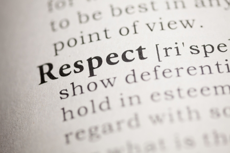 printing out: Fake Dictionary, Dictionary definition of the word Respect.