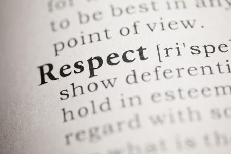 Finto dizionario, la definizione del dizionario della parola rispetto. Archivio Fotografico - 22829744