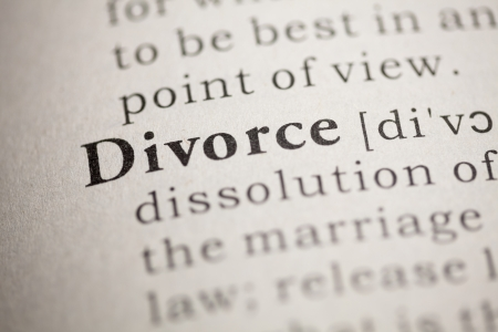 Fake Dictionary, Dictionary definition of the word Divorce. Stock Photo