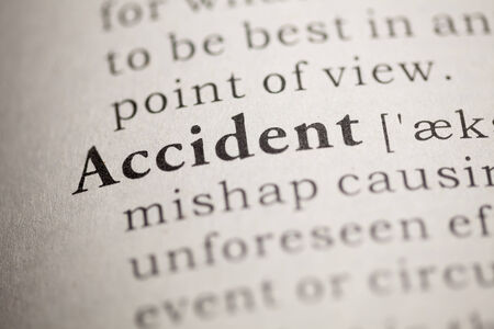 Fake Dictionary, Dictionary definition of the word Accident. Stock Photo