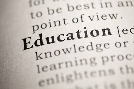 Fake Dictionary, Dictionary definition of the word Education. Stock Photo