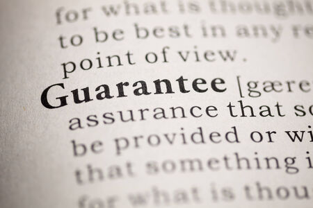 Fake Dictionary, Dictionary definition of the word Guarantee. Stock Photo