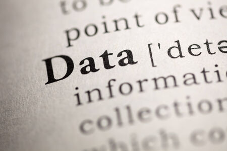 data dictionary: Fake Dictionary, Dictionary definition of the word Data. Stock Photo