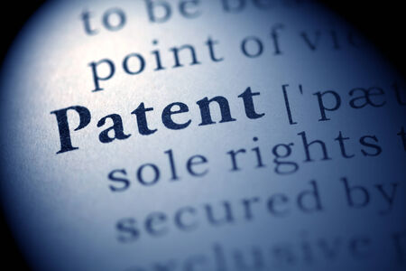 patent: Fake Dictionary, Dictionary definition of the word Patent. Stock Photo