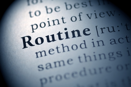 Fake Dictionary, Dictionary definition of the word Routine. Фото со стока