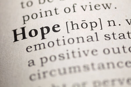 hope: Dictionary definition of the word hope.  Stock Photo