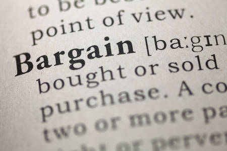 Dictionary definition of the word Bargain.  Stock fotó