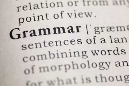 Dictionary definition of the word Grammar.  Imagens