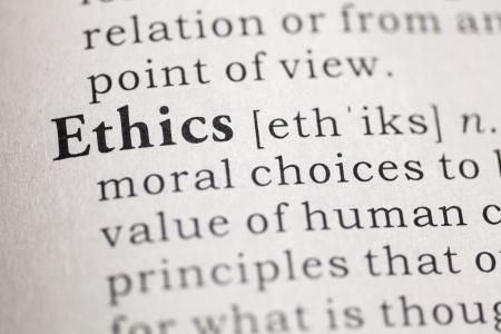 etica: Definición del diccionario de la palabra ética. Foto de archivo