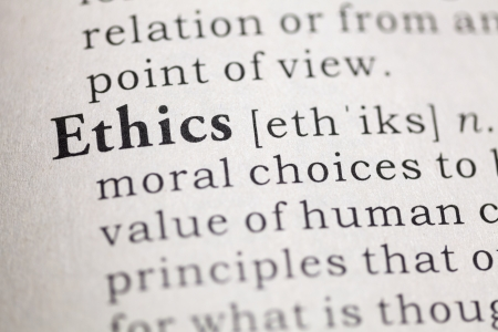 Dictionary definition of the word Ethics.