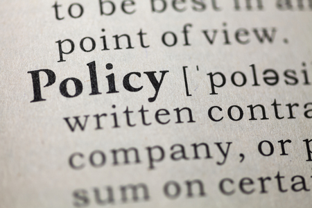 Dictionary definition of the word policy.  Stock fotó