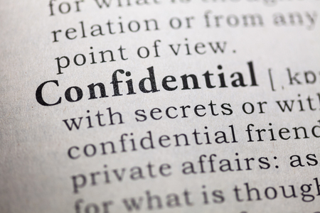 Dictionary definition of the word confidential