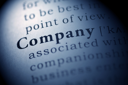 Fake Dictionary, Dictionary definition of the word Company. Stock Photo