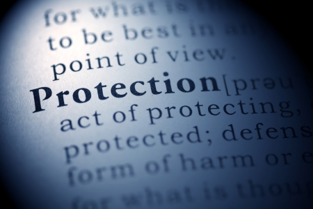 Fake Dictionary, Dictionary definition of the word Protection. Stock Photo
