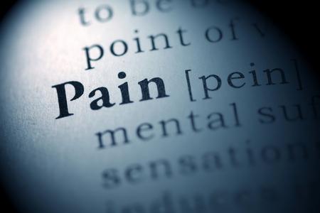 definicion: Diccionario Fake, Definición del diccionario de la palabra dolor. Foto de archivo