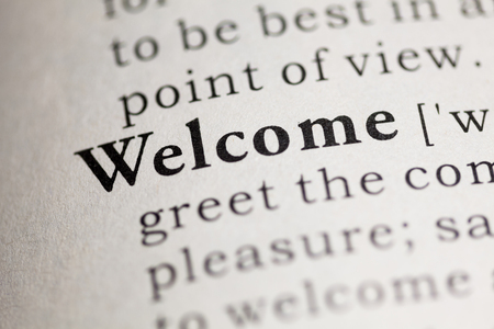 Fake Dictionary, Dictionary definition of the word Welcome. Stock fotó