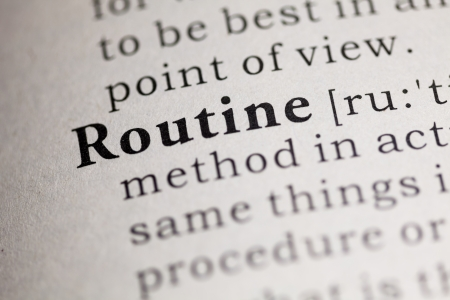 routine: Fake Dictionary, Dictionary definition of the word Routine. Stock Photo