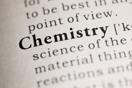Fake Dictionary, Dictionary definition of the word Chemistry. Stock fotó