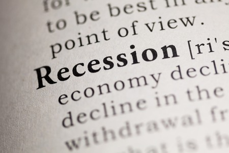 recession: Fake Dictionary, Dictionary definition of the word Recession. Stock Photo