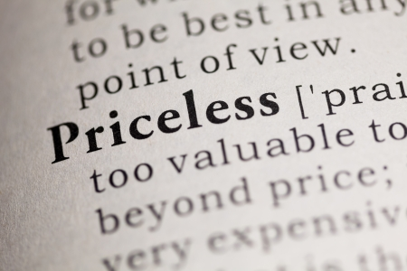 priceless: Fake Dictionary, Dictionary definition of the word Priceless. Stock Photo