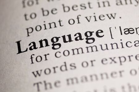 language dictionary: Fake Dictionary, Dictionary definition of the word Language. Stock Photo