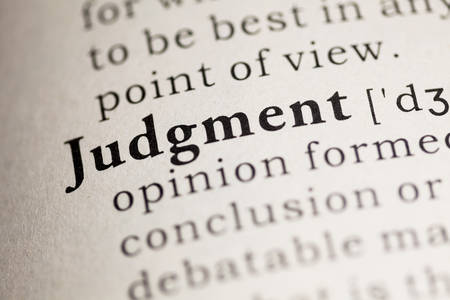 Fake Dictionary, Dictionary definition of the word Judgment. Фото со стока