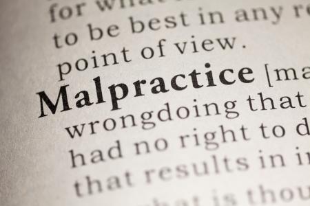 Falso dizionario, la definizione del dizionario della parola Malpractice. Archivio Fotografico - 22898577