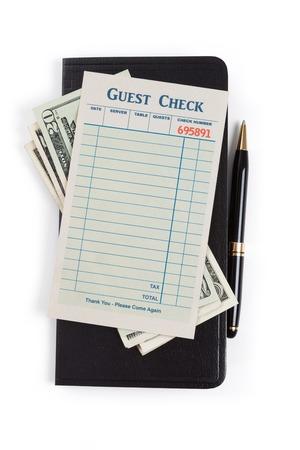 cheque en blanco: Cheque en blanco Invitado y el d�lar, concepto de gasto restaurante
