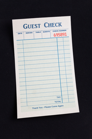 blank check: Blank Guest Check, concept of restaurant expense