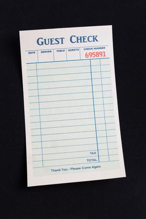 cheque en blanco: Cheque en blanco Invitado, el concepto de gasto restaurante