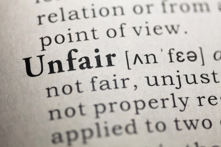 unfair: Fake Dictionary, Dictionary definition of the word unfair