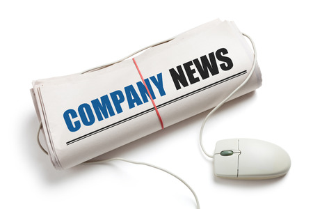 Company News, Computer mouse and Newspaper Roll with white background photo