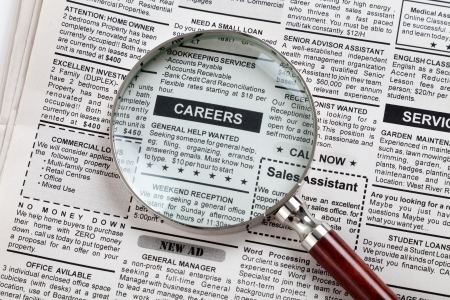 job advertisement: Fake Classified Ad, newspaper, business concept  Stock Photo