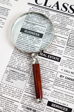 가짜 분류 된 광고, 신문, 비즈니스 개념