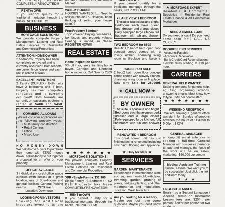 가짜 분류 광고, 신문, 비즈니스 개념 스톡 콘텐츠 - 23319670