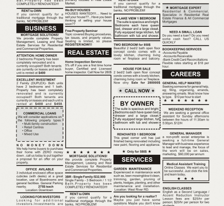 fake newspaper: Fake Classified Ad, newspaper, business concept  Stock Photo