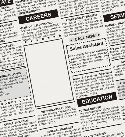 Fake Classified Ad, newspaper, business concept  Stock Photo - 23319671