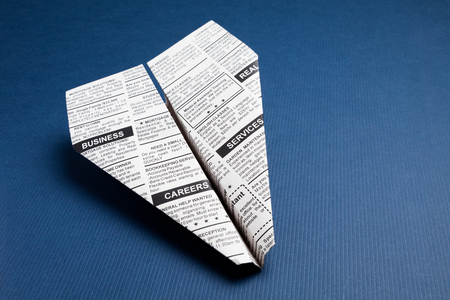 Newspaper Airplane, Classified Ad, business concept