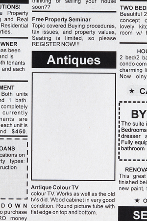 Fake Classified Ad, newspaper, Antiques Sale concept