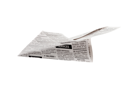 Fake Newspaper Airplane, Classified Ad, business concept  Stock Photo