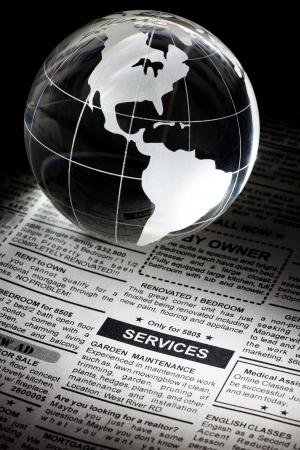 가짜 분류 광고, 신문, 서비스 컨셉 스톡 콘텐츠