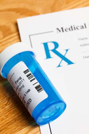 pill bottle prescription bottle: Pill Bottle and Prescription, concept for Healthcare And Medicine