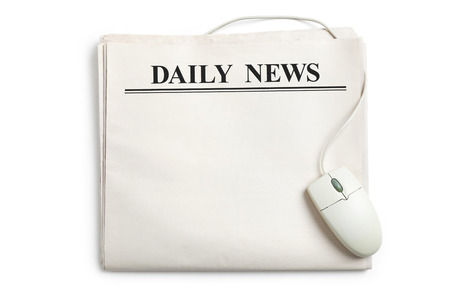 Computer mouse and Newspaper with white background