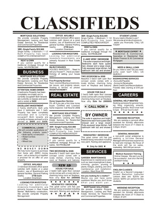 Fake Classified Ad, newspaper, business concept  Stockfoto