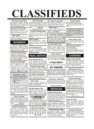 Falso Annuncio, giornale, affari concetto Archivio Fotografico - 23359998