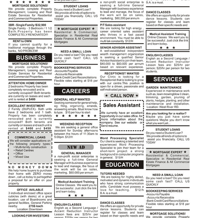 classifieds: Fake Classified Ad, newspaper, business concept  Stock Photo