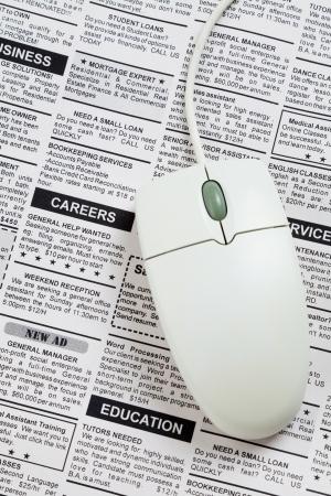 가짜 분류 광고, 신문, 직업 개념