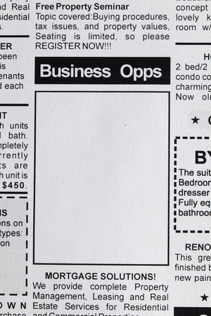 classifieds: Fake Classified Ad, newspaper, business opportunity concept