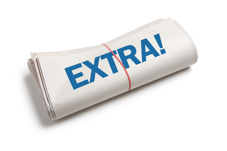 News Extra, Newspaper roll with white background